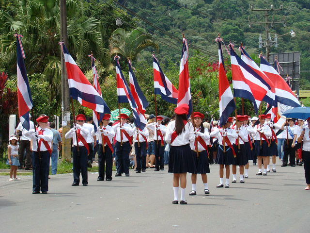 Kids marching to celebrate independence day in Costa Rica