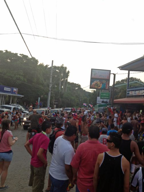 Ticos celebrating in the streets