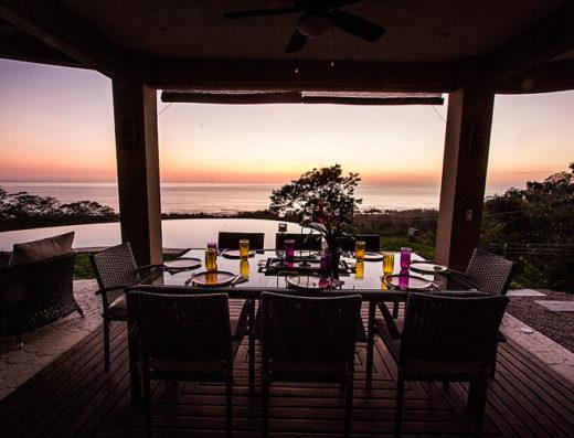 Casa makasi dining area at sunset